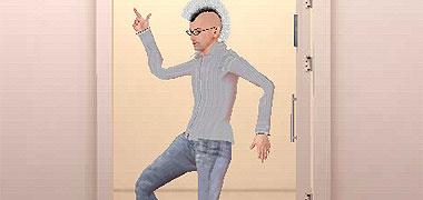 ハイテンションで踊る男。