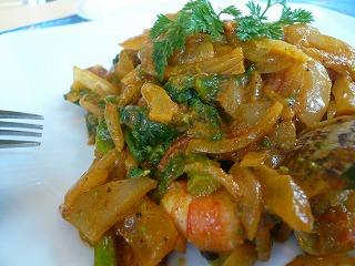 319 sara 菜の花とあさりと海老のスパイス炒め