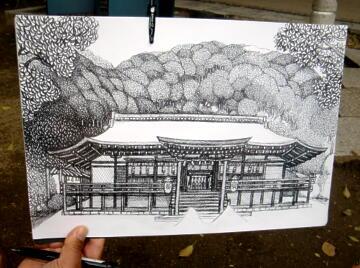 ボールペン画(朝霧通り)