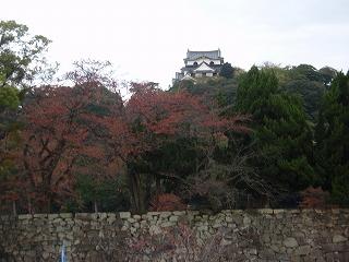 秋の彦根城前にて