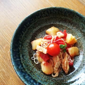 桃とトマトの冷製パスタ 完成イメージ