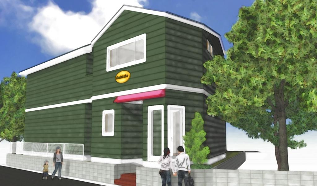 緑色の建物