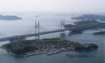 瀬戸大橋を上空から