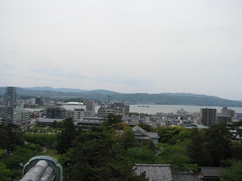 松江城5階からの松江大橋方面