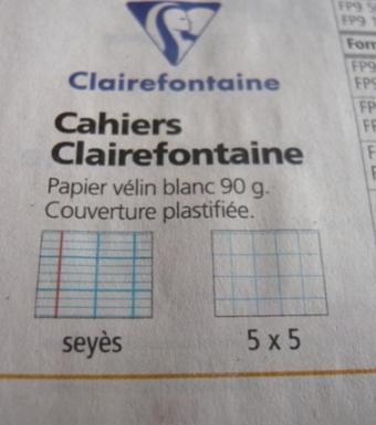 フランスのクレールフォンテーヌの種類(ノート写真)