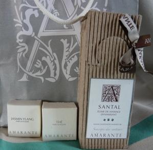 アマラントのマッサージ・オイルと香水ラッピング