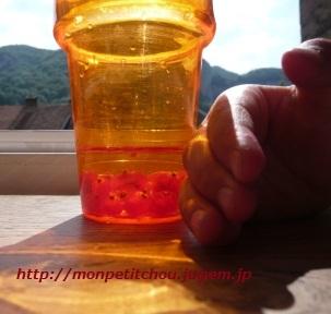 グロセイユのジュース作り中