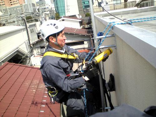 渋谷区 Sハイツ ロープアクセスでの作業