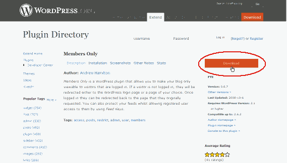 wordpress plugin(members-only)