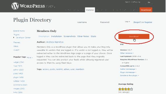 wordpress plugin(members-only)