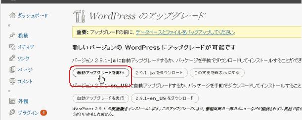 wordpress 自動アップグレードを実行