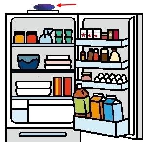 冷蔵庫の上に、テスラ トラベルプレートをのせて、庫内の食品を、トリート
