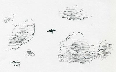 空と鳥 ペンスケッチ