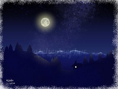 中秋の名月 デジタルイラスト