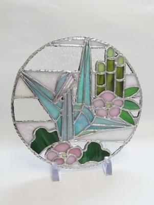 ステンドグラス 正月飾り 折鶴 松竹梅