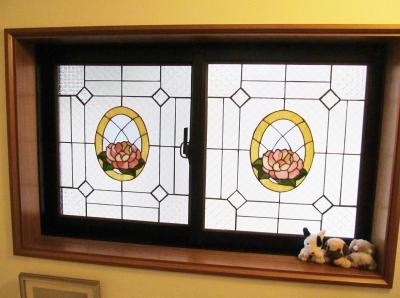 ステンドグラス 窓 薔薇 パネル