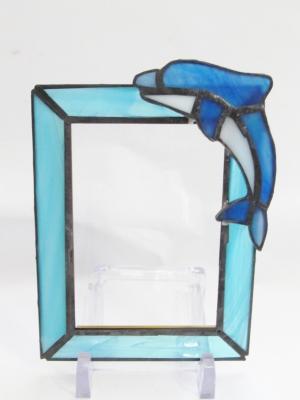 ステンドグラス イルカのフォトフレーム