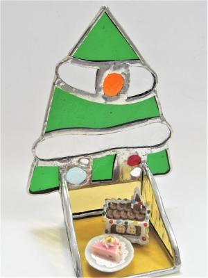 クリスマスツリー ステンドグラス キャンドルホルダー