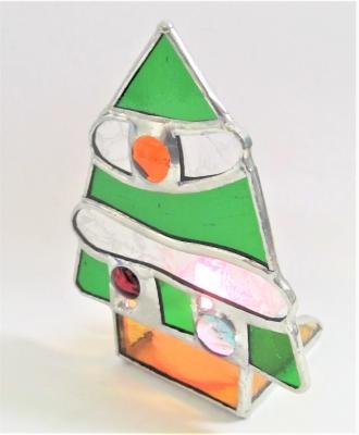 クリスマスツリーのキャンドルホルダー ステンドグラス