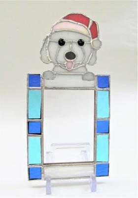 ステンドグラス 犬 フォトフレーム マルチーズ サンタ帽