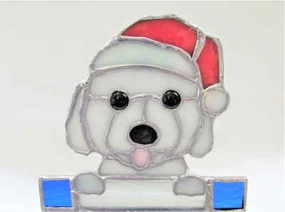 サンタクロース 帽子 ステンドグラス 犬