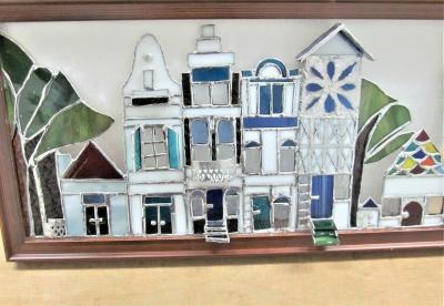 ステンドグラス ヨーロッパの町並み 家