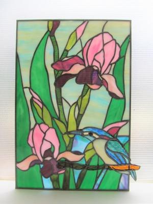 ステンドグラス 花菖蒲 カワセミ