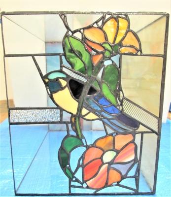 ステンドグラス 本棚 鳥