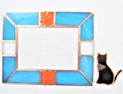 ステンドグラス猫 フォトフレーム