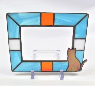 ステンドグラスフォトフレーム 猫