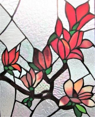 ステンドグラス花 窓 木蓮