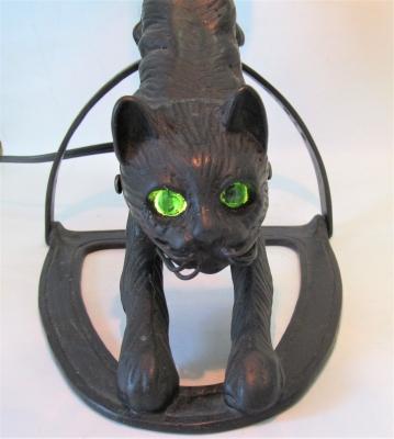ステンドグラスランプ ブロンズベース 猫