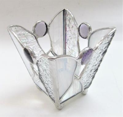ステンドグラスキャンドルホルダー 天使の羽の小物入れ