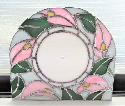 ステンドグラス 時計 カラー 花