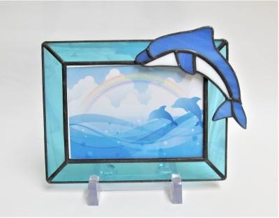 イルカのフォトフレーム ステンドグラス