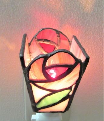 ステンドグラス バラの花 ランプ