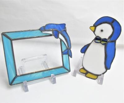 ステンドグラスイルカのフォトフレーム ペンギン