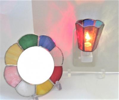 ステンドグラスミラー 鏡 フットランプ