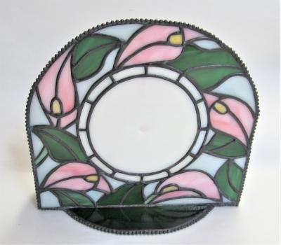 ステンドグラス時計 カラー 花