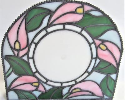 ステンドグラス 時計 カラー花