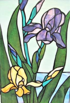 ステンドグラス アヤメの花 アイリス