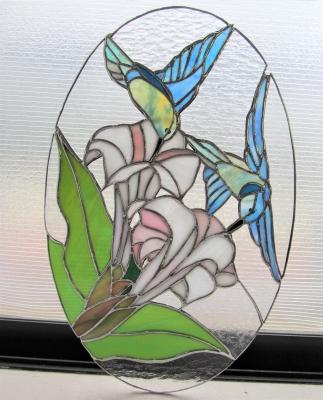ステンドグラス ハチドリ ユリ