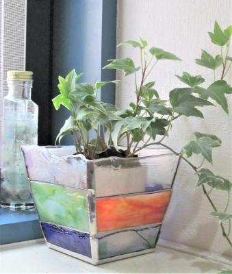 ステンドグラス 鉢カバー