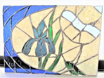 ステンドグラス 燕子花 時計