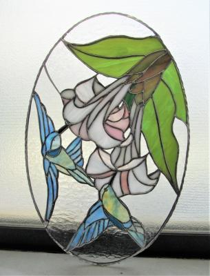 ステンドグラス 鳥 ハチドリ 百合