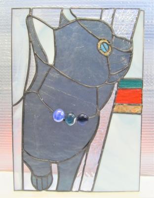 ステンドグラス 猫 ロシアンブルー