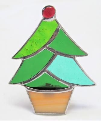 ステンドグラス 足下ランプ クリスマスツリー