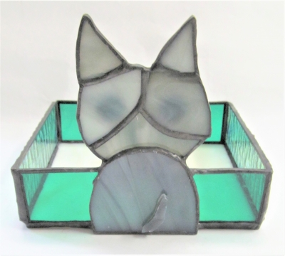 ステンドグラス 子猫 小物入れ