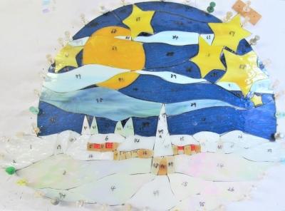 ステンドグラス 雪 風景 星