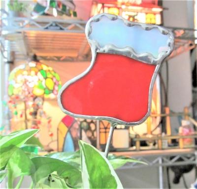 ステンドグラス ガーデンピック クリスマスブーツ